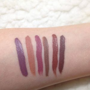Swatches once they set. Left to right: Femme, Magic Wand, Dopey, Mess Around, Stud, Toolips